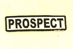 PROSPECT Black on White Small Badge for Biker Vest Motorcycle Patch