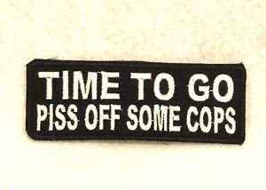 TIME TO GO White on Black Small Badge for Biker Vest Motorcycle Patch