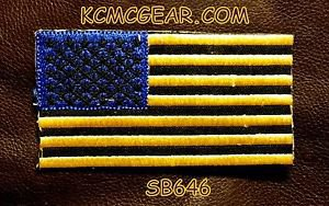 USA FLAG Yellow Blue and Black Small Badge for Biker Jacket Motorcycle Patch