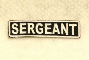 SERGEANT White on Black Small Badge for Biker Vest Motorcycle Patch