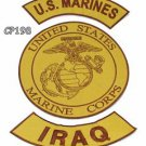 MARINES IRAQ Brown on Gold Iron on 3 Patches Set for Biker Jacket