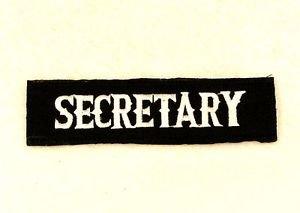 SECRETARY White on Black Small Badge for Biker Vest Jacket Patch