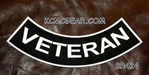 """VETERAN Black on White Back Patch Bottom Rocker for Biker Veteran Vest 10"""""""
