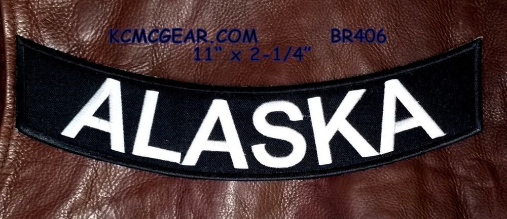 "ALASKA White on Black Back Patch Bottom Rocker for Biker Veteran Vest Jacket 10"""