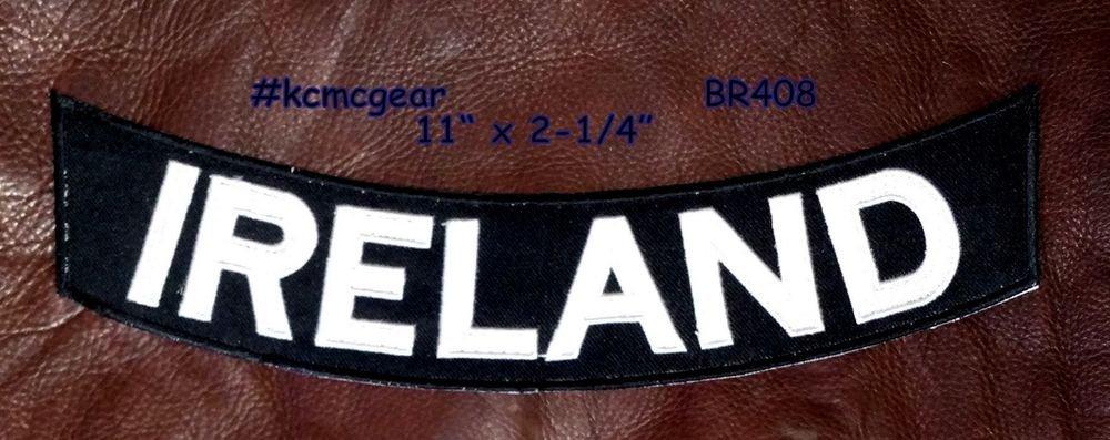 """IRELAND White on Black Back Patch Bottom Rocker for Biker Veteran Vest 10"""""""