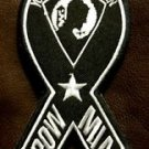POW MIA RIBON White on Black Small Badge for Biker Vest Jacket Motorcycle Patch