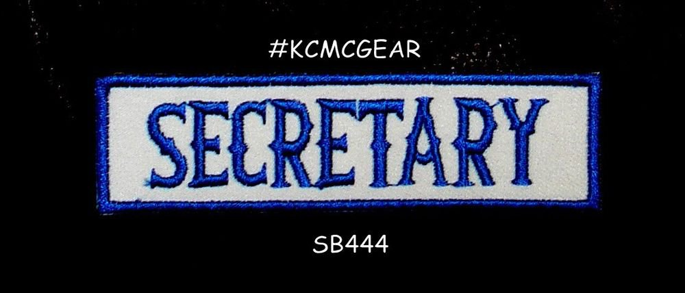 SECRETARY Blue on White Small Badge for Biker Vest Jacket Motorcycle Patch