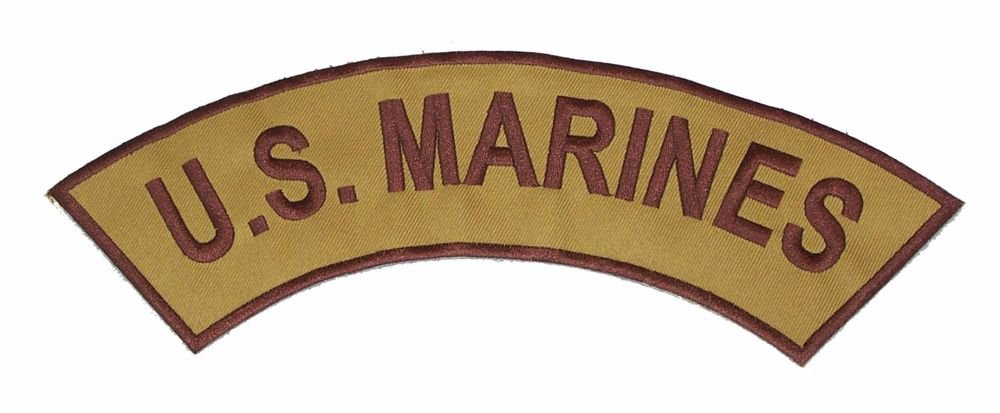 U.S.MARINES Brown on Gold Top Rocker Patch Iron on for Biker Vest and Jacket