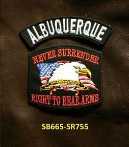 ALBUQUERQUE and NEVER SURRENDER Small Badge Patches Set for Biker Vest Jacket