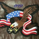 "SCREAMING EAGLE with Flag Banner Patch for Biker Vest Jacket Back Patches 10"""