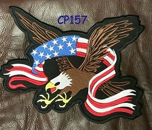 SCREAMING EAGLE with Flag Banner Patch for Biker Vest Jacket Back Patches 10�