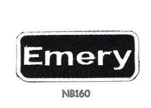 EMERY Name Tag Patch Iron or sew on for Shirt Jacket Vest New BIKER Patches