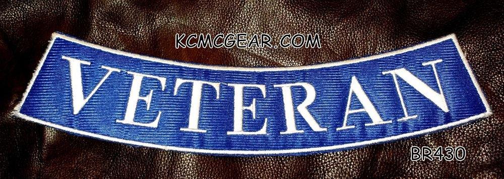 """VETERAN White on Dark Blue Back Patch Bottom Rocker for Biker Veteran Vest 10"""""""