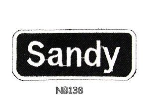 SANDY Name Tag Patch Iron or sew on for Shirt Jacket Vest New BIKER Patches 145