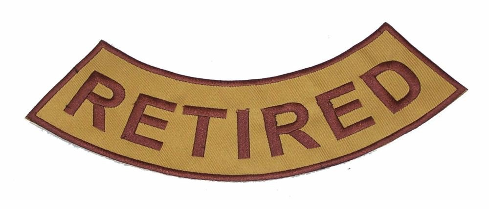 RETIRED Brown on Gold Bottom Rocker Patch Iron on for Biker Vest and Jacket