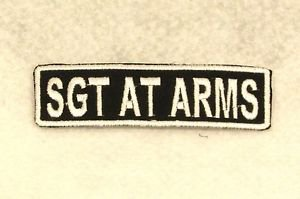 SGT AT ARMS White on Black Small Badge for Biker Vest Motorcycle Patch