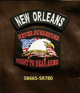 NEW ORLEANS and NEVER SURRENDER Small Badge Patches Set for Biker Vest Jacket