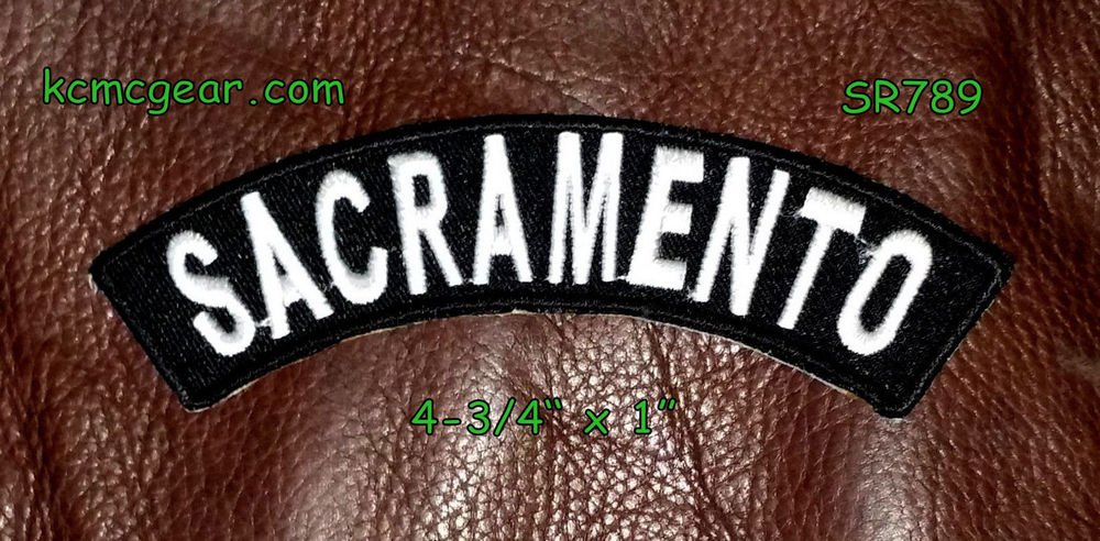 Sacramento Embroidered Top Rocker Small Biker Patches for sleeve