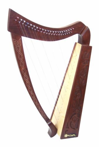 Celtic Irish Rose Harp 22 Strings Solid Wood with hand Engraved Styles RHP22-22