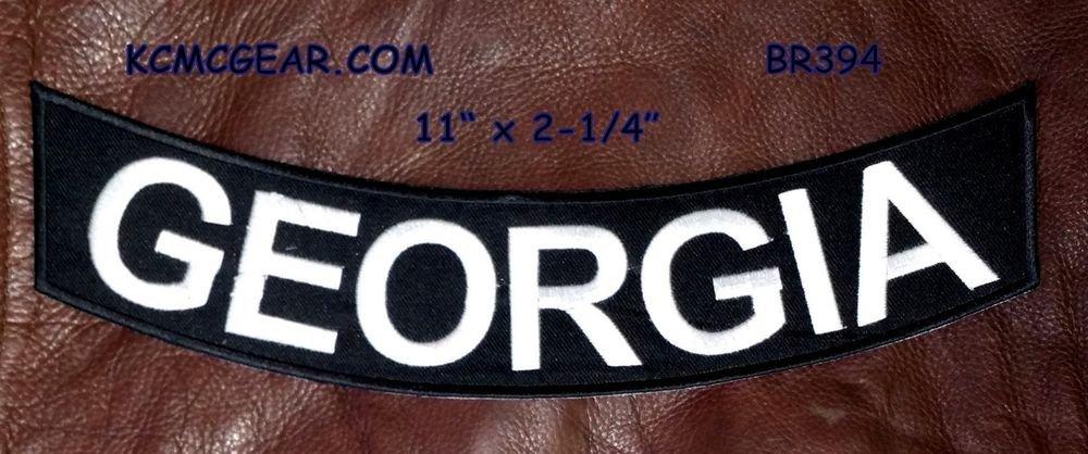 """GEORGIA White on Black Back Patch Bottom Rocker for Biker Veteran Vest 10"""""""