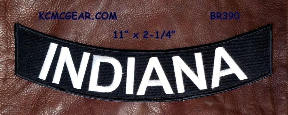 """INDIANA White on Black Back Patch Bottom Rocker for Biker Veteran Vest 10"""""""