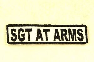 SGT AT ARMS Black on White Small Badge for Biker Vest Motorcycle Patch