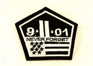 9-11-01 Never Forget White on Black Small Badge Biker Vest Jacket Patch SB802