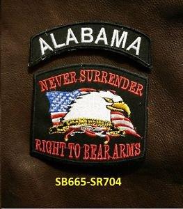 ALABAMA and NEVER SURRENDER Small Badge Patches Set for Biker Vest Jacket