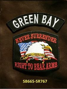 GREEN BAY and NEVER SURRENDER Small Badge Patches Set for Biker Vest Jacket