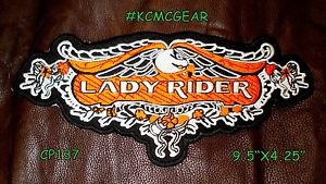 LADY RIDER Eagle for Biker Motorcycle Vest Jacket Military Back Rocker Patch 10""