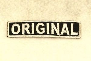 ORIGINAL White on Black Small Badge for Biker Vest Motorcycle Patch