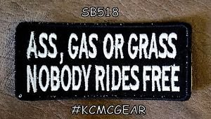 Ass Gas or Grass Small Badge for Biker Vest jacket Motorcycle Patch