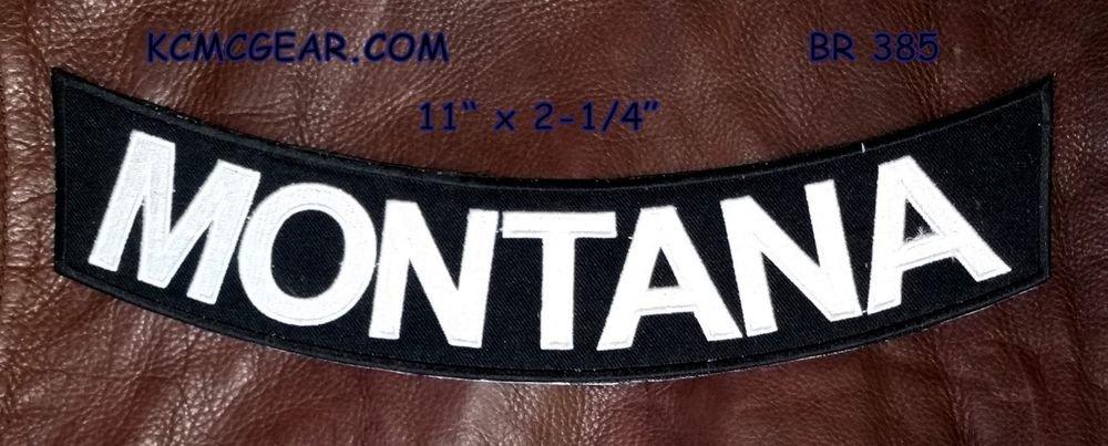 """MONTANA White on Black Back Patch Bottom Rocker for Biker Veteran Vest 10"""""""