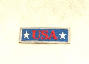 USA red white on blue with silver boarde Small Badge Biker Vest Motorcycle Patch