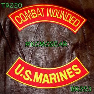 COMBAT WOUNDED US MARINES Back Military Patches Set for Biker Vest Jacket