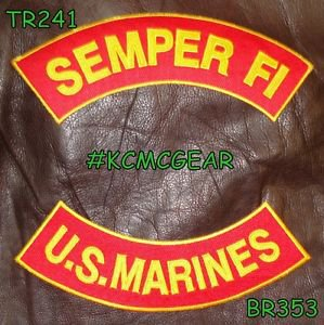 SEMPER FI US MARINES Brown on Red Back Military Patches Set Biker Vest Jacket