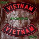 VIETNAM VIETNAM Red on Black Back Military Patches Set Biker Vest Jacket