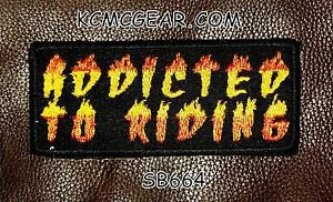 ADDICTED TO RIDING Small Badge for Biker Vest Motorcycle Patch