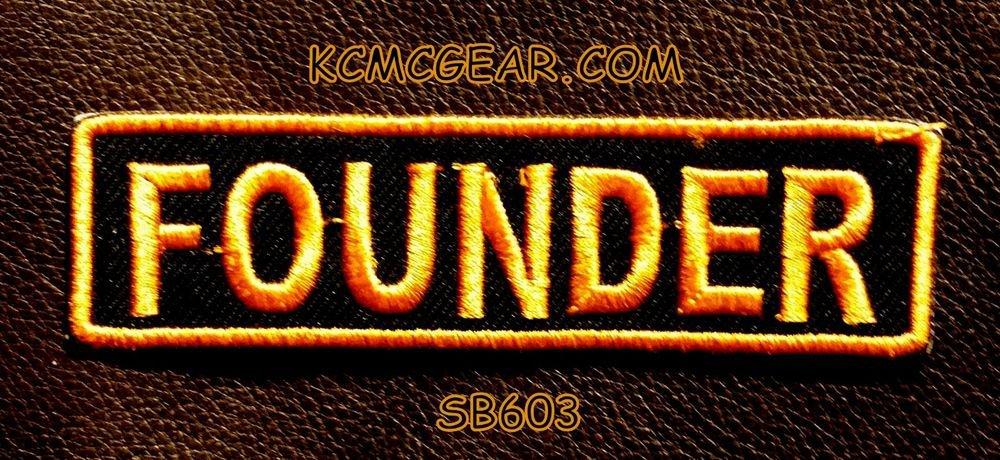 FOUNDER Orange on Black Small Badge for Biker Vest jacket Motorcycle Patch