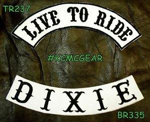 LIVE TO RIDE DIXIE Black on White Back Military Patches Set Biker Vest