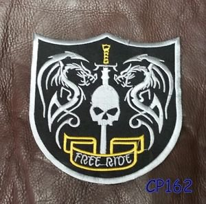 RIDE FREE SHIELD Patch for Biker Motorcycle Vest Jacket Back Patches 10�
