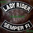 LADY RIDER SEMPER FI White on Black Back Military Patches Set for Biker Vest