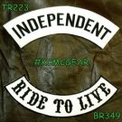 INDEPENDENT LIVE TO RIDE Black on White Back Military Patches Set Biker Vest
