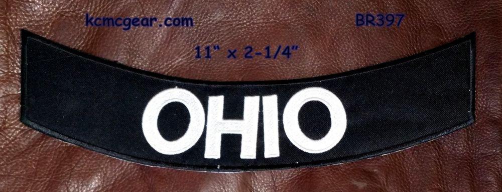 """OHIO White on Black Back Patch Bottom Rocker for Biker Veteran Vest Jacket 10"""""""