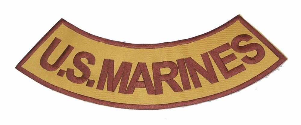 U.S.MARINES Brown on Gold Bottom Rocker Patch Iron on for Biker Vest and Jacket