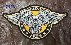 "RIDE FREE Winged v-Twin for Biker Motorcycle Vest Jacket Back Rocker Patches 10"""