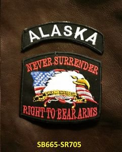 ALASKA and NEVER SURRENDER Small Badge Patches Set for Biker Vest Jacket