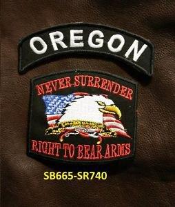 OREGON and NEVER SURRENDER Small Badge Patches Set for Biker Vest Jacket