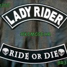 LADY RIDER RIDE TO DIE White on Black Back Military Patches Set for Biker Vest