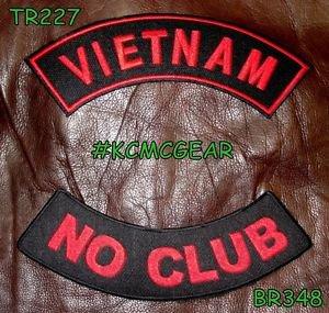 VIETNAM NO CLUB Red on Black Back Military Patches Set Biker Vest Jacket